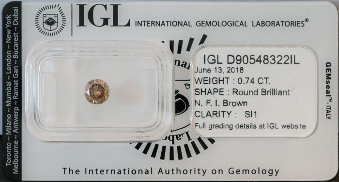 IGL 0.74ct Natural Fancy Intense Brown SI1 Natural Diamond  ****No Reserve Price***