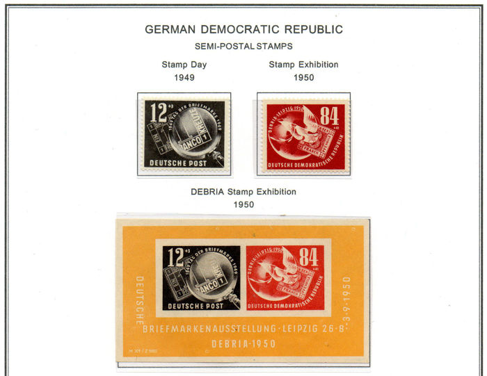 GDR 1949/1954 - Philatelic exhibition - Unificato 245, 260, BF7, 445A, BF10