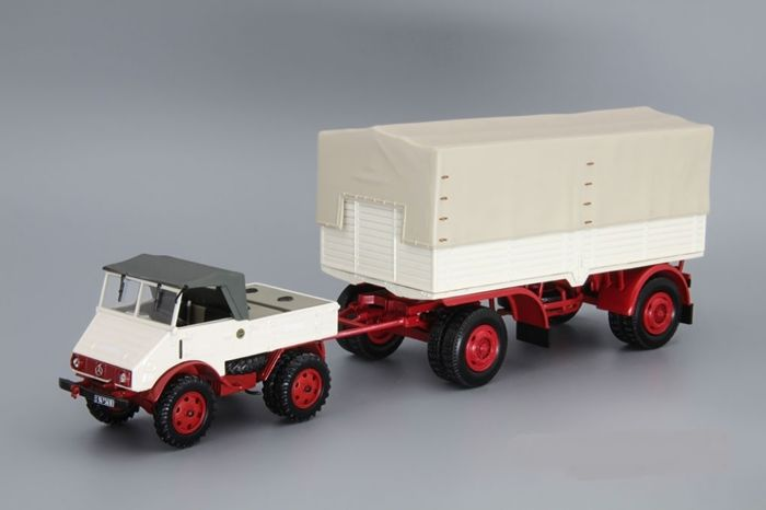 MiniChamps - 1:43 - Mercedes-Benz Unimog 401 + Pritschenanhänger - Limited Edition or 504 pcs.