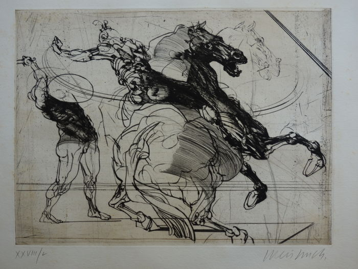 Claude Weisbuch (1927-2014) - Charge à Cheval