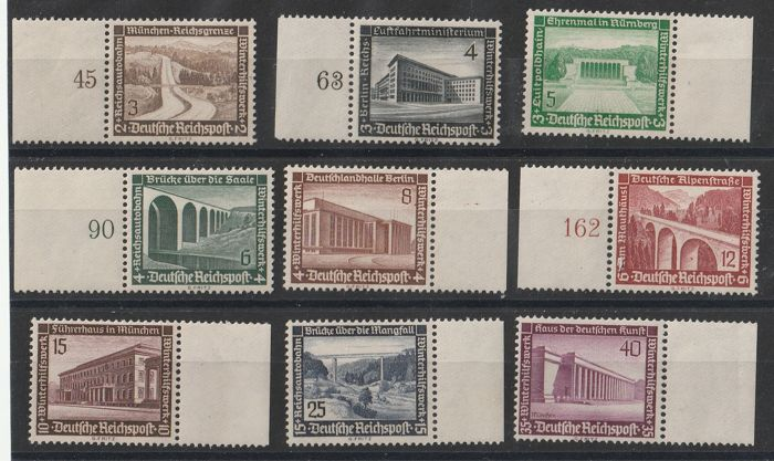German Empire 1936/1937 - Winter aid 1936 and 1937 all marginal pieces - ANK 2017 634  --  642   und   651  --  659