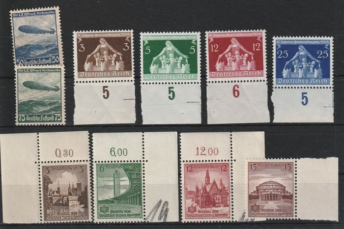 German Empire 1936/1938 - 25 values ​​from 1936 to 1938, many margins - ANK 2017 Aus Nr. 606 bis 684y , 685