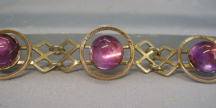 Antique bracelet, natural polished amethyst spheres 15 ct in total
