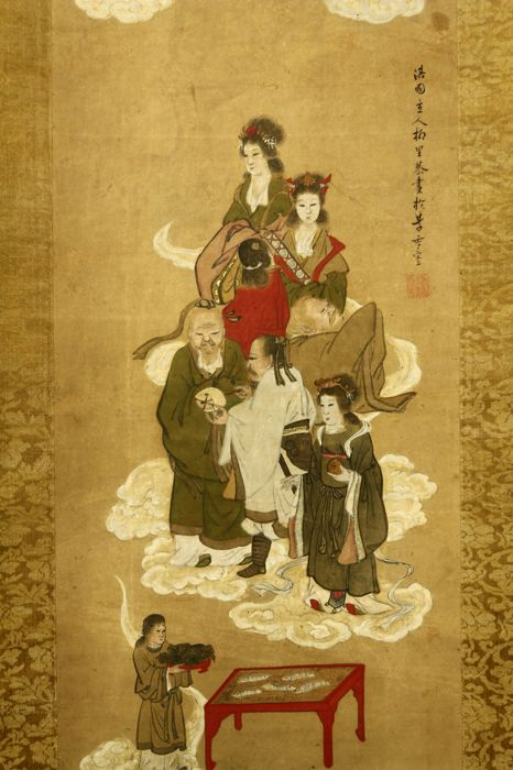 "Hand painted hanging scroll after Yanagisawa Gien 柳沢淇園 (ca. 1703-58) (Reproduction) - ""Group of Chinese Deities"" - Japan - Late 19th century (Meiji period)"