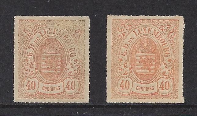 Luxembourg 1865/1875 - Weapon 3nd Emission Pierced perforation - Michel 23a en 23b