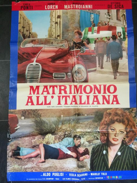 Matrimonio all' Italiana - official cinema poster - 1965 - Sophia Loren Marcello Mastroianni