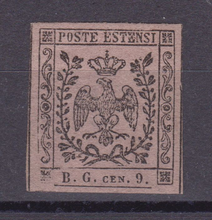Modena 1853 - Newspaper stamp cent 9, small letters B. G. - Sassone N. 2