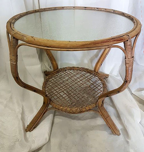 Rohe Rattan Table With Glass Top, Netherlands, 1960s
