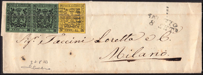 Modena 1857 - 5 cents green olives horizontal pair and 15 cents yellow on letter from Reggio to Milan - Sassone NN. 3 e 8