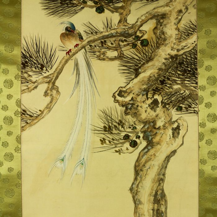 "Hand painted hanging scroll - Signed 'Baikyu' 梅丘 - ""Kachoga (Birds and flowers) painting"" - Japan - ca. 1930-40 (Showa Period)"