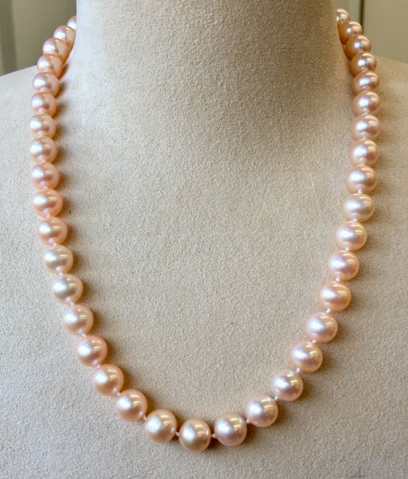 Necklace with RD cultured Freshwater pearls Ø 9 x 9.5 mm - No reserve price