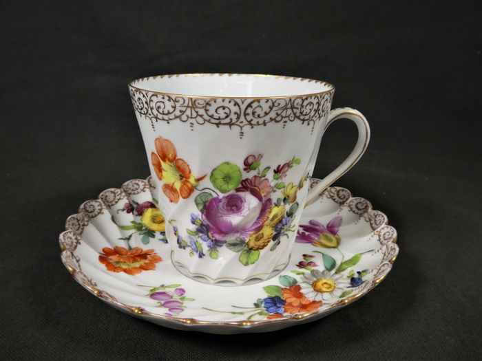 Dresden Beautiful Large Decorative Cup With Saucer Handpainted New Decorative Cups And Saucers