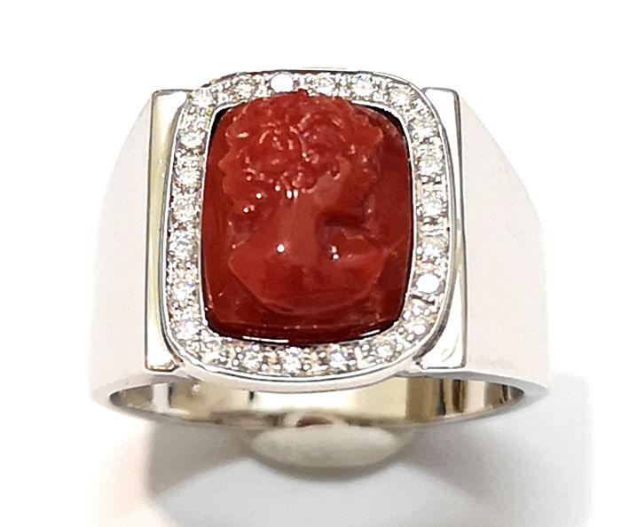 Ring with coral cameo and diamonds