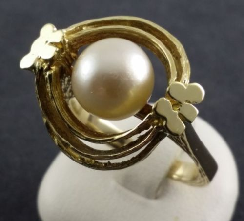 Pearl ring - 585 yellow gold - size 58 - 1 freshwater pearl