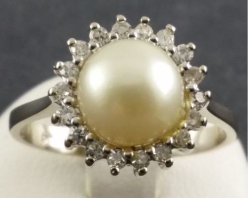 14 kt. White gold - Pearl Ring-Gold + 1 freshwater Pearl + Diamonds Pearl - Diamond