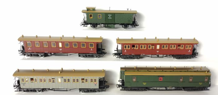 Märklin H0 - 4211/4212/4213/4214/4229 - Passenger carriage - Five passenger careers - K.W.St.E.