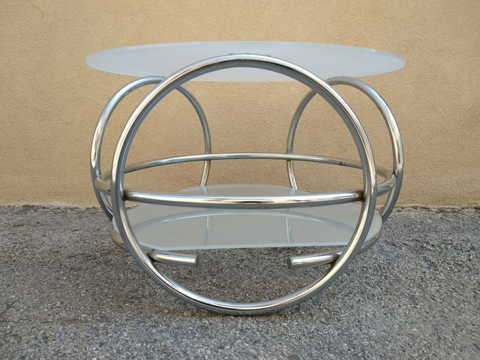 Unknown manufacturer - Side table in glass and steel