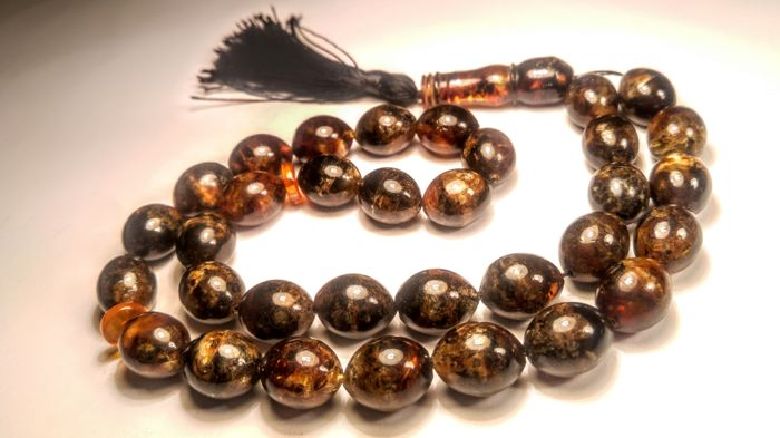 Natural Olive size beads Baltic Amber Prayer Tesbish 33 beads, length 42 cm, 64 grams