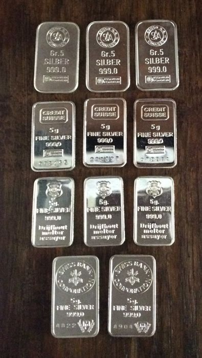 Investment lot of small silver ingots - 11 x 5 grams - 999/1000 - Minted - Credit Suisse - Argor S.A. - Swiss Bank Corporation - H. Drijfhout & Z.n.