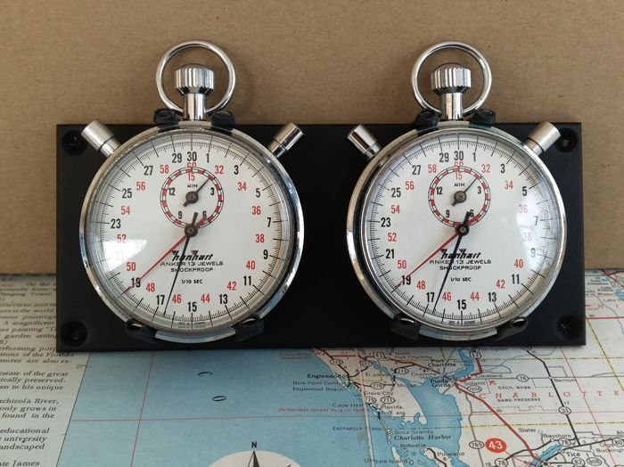 Time measurement instrument - HANHART 2X SPLIT STOPWATCHES time keeping SET - 1980-1980 (1 items)