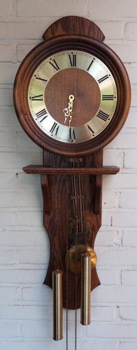 Hanging clock with weights and harp garland from the 1960s-70s, double strike
