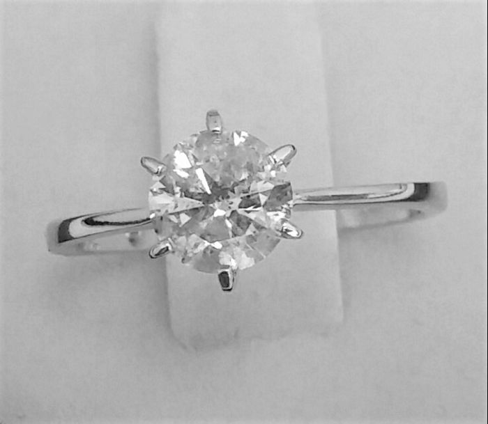 1.11 ct Solitaire Diamond Ring - G / SI2 - 14K White Gold - AIG Certified - + Laser Inscription On Girdle - size  53 ( Fr)