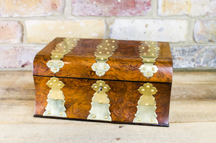 Burr Walnut Brass bound work box c.1860