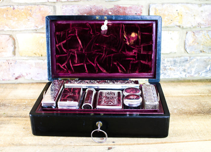 Fully fitted Gent's Box Silver plate c.1890