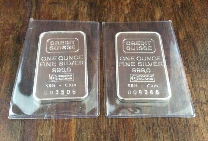 Credit Suisse - 2 x one ounce - 999/1000 - Minted bars-  Sealed - With serial numbers