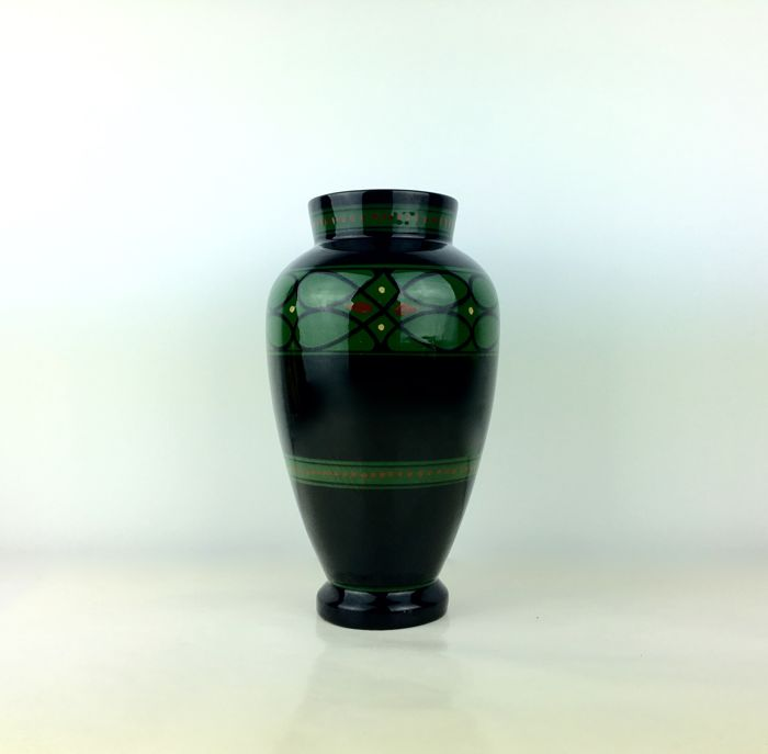 Ed. Antheunis, gloss earthenware vase abstract decor.