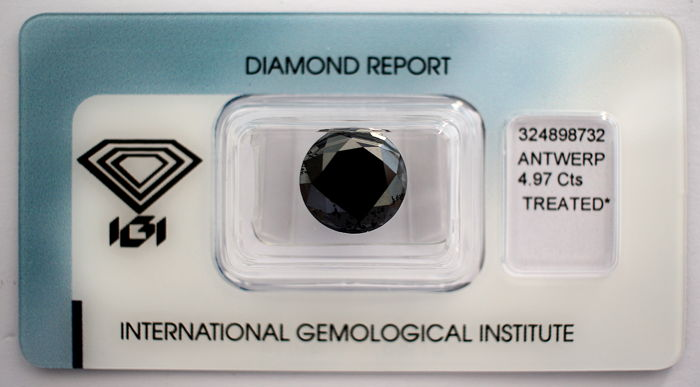 Black Diamond 4.97 CT with IGI certificate***No minimum price***
