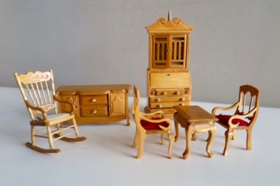 Doll house furniture set 6-piece set - handmade - drawers and doors can open