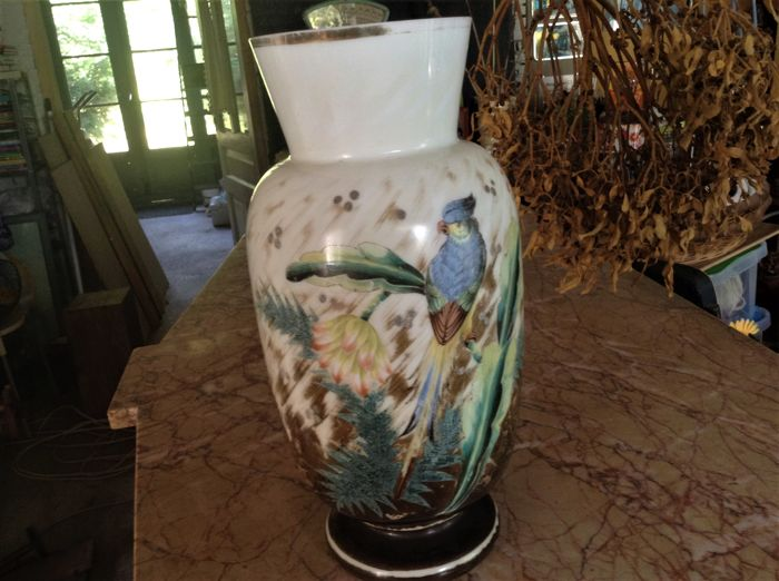Opaline glass vase, France, early 20th century