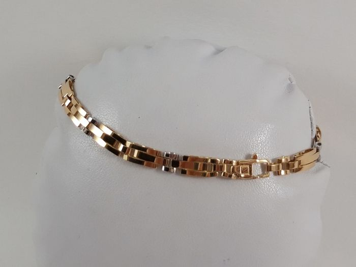 Men's bracelet in 18 kt white and yellow gold Weight 8.9 g