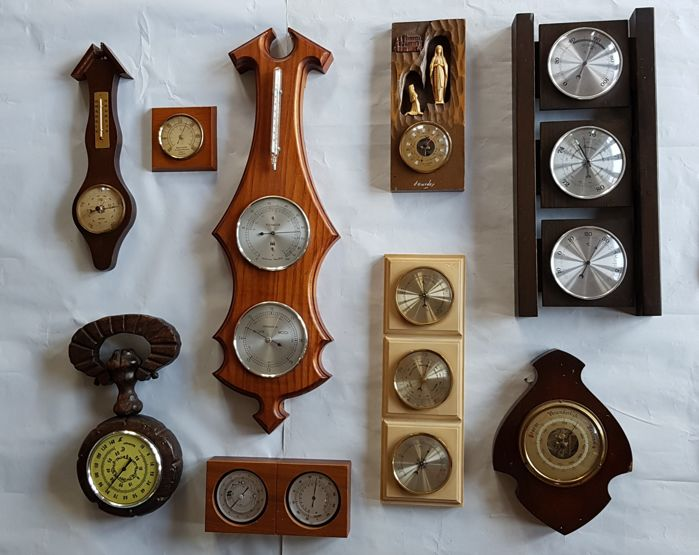 Very large collection of old and Antique Barometers with thermometers and Hygrometers