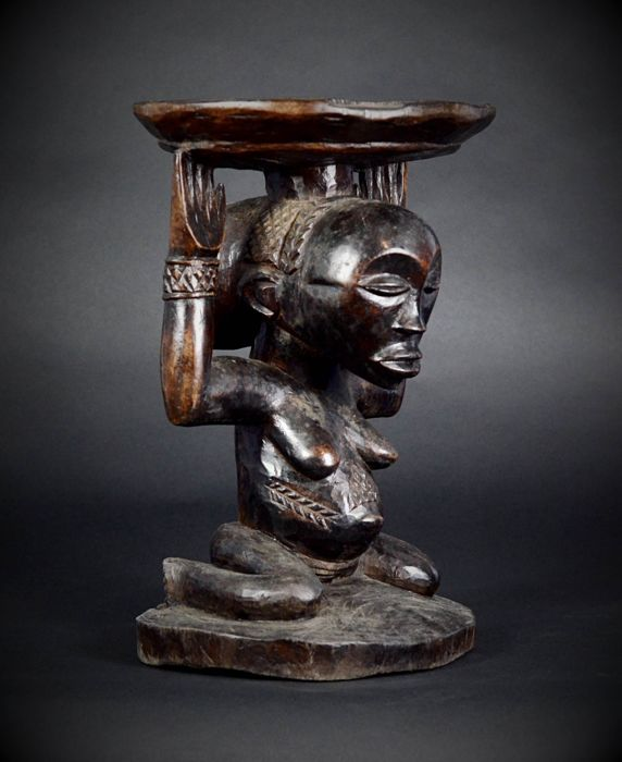 Nice LUBA / HEMBA Cariatid seat or chair - Democratic Republic of the Congo. ( African Tribal Art ).