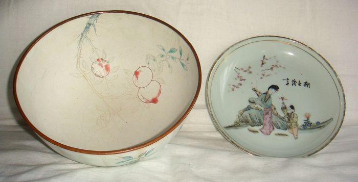 Lot of a canton enamel bowl and a Chinese porcelain plate - both marked - China - first half 20th century