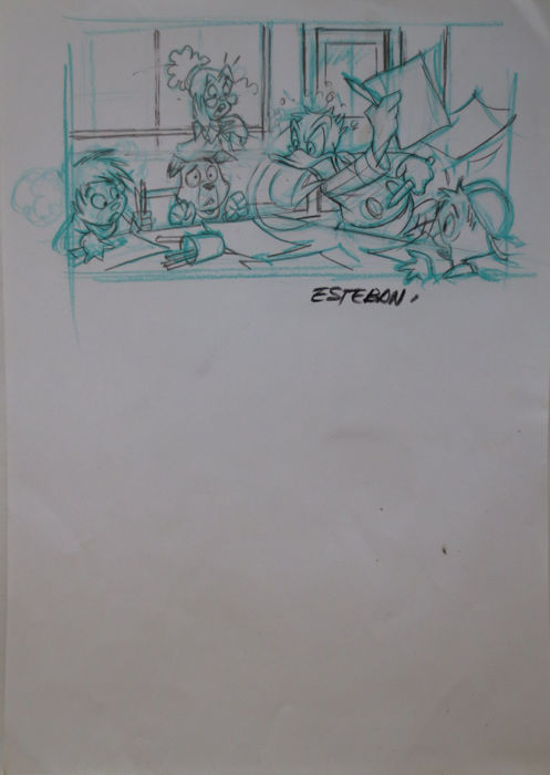 Disney - Original Drawing  - Donald Duck- Calvet Esteban - First edition