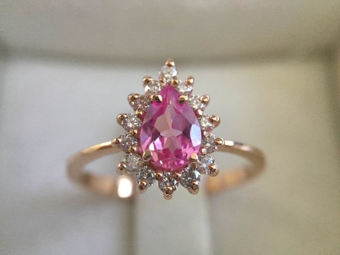 14k pink gold, diamonds and pink sapphire ring, ring size 7
