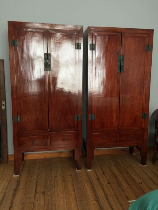 Pair Of Antique Chinese Elm Wood Cupboards   China   Late 20th Century