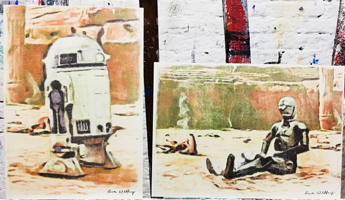 Typtichon - R2-D2 and C-3PO - Original Artwork on a wooden plate - measurements 29,8 x 42cm - Artist Emma Wildfang