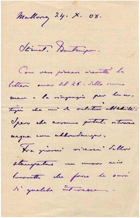Ludovico (or Luigi) Salvatore d'Asburgo-Lorena  - Autograph; Letter of the Prince of Tuscany from Maiorca - 1908