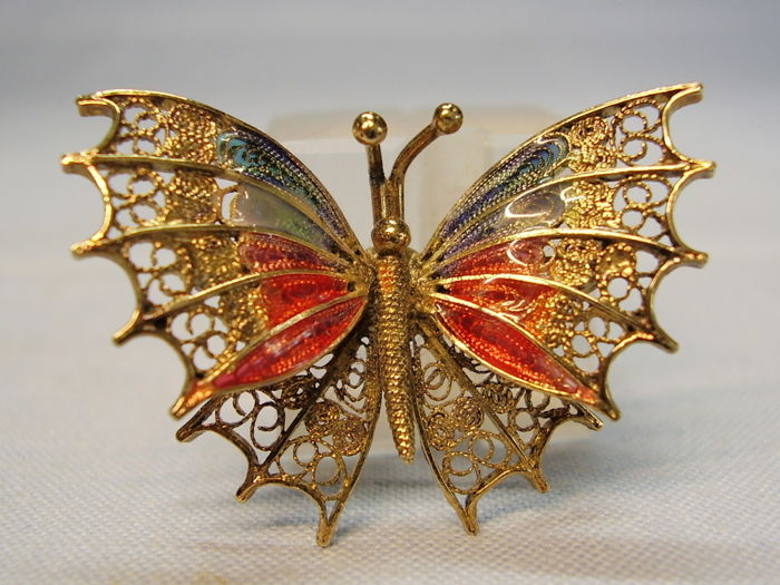 antique multicoloured enamelled filigree butterfly as a brooch