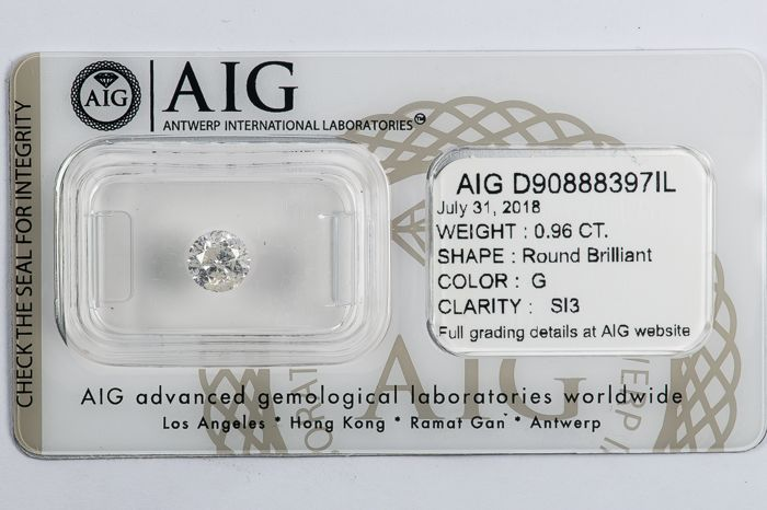 0.96 CT Round Brilliant Cut  G / SI3  *** Low Reserve ***