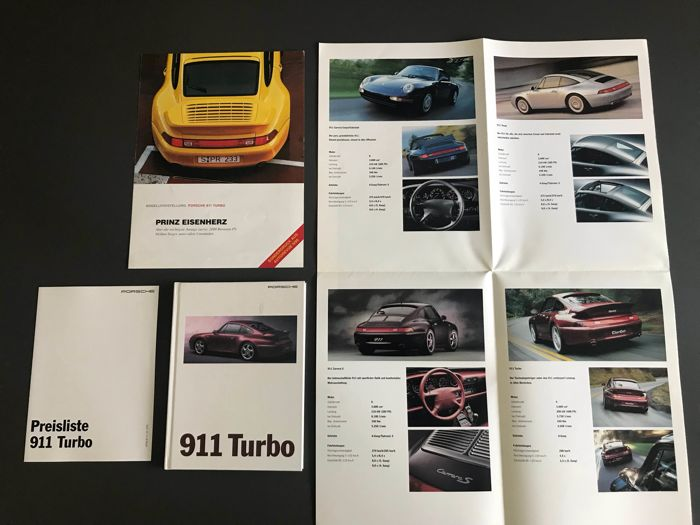 Porsche 911 993 turbo prospekt/brochure/folder + poster + price list 1995
