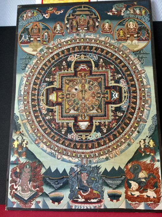 Large hand-painted canvas Thangka - Nepal - second half of the 20th century.