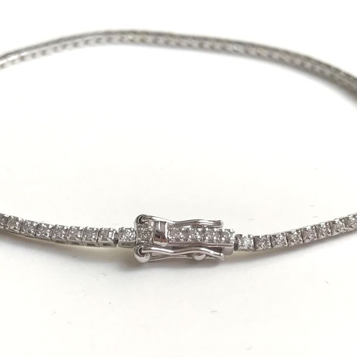 14K White Gold Tennis Bracelet , 3,77 g, Diamond : 1,03 ct H/Vs - Size 19 cm - No Reserve Price