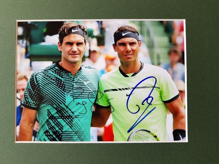 Roger Federer + Rafael Nadal - hand signed photo by both in professional passepartout + COA