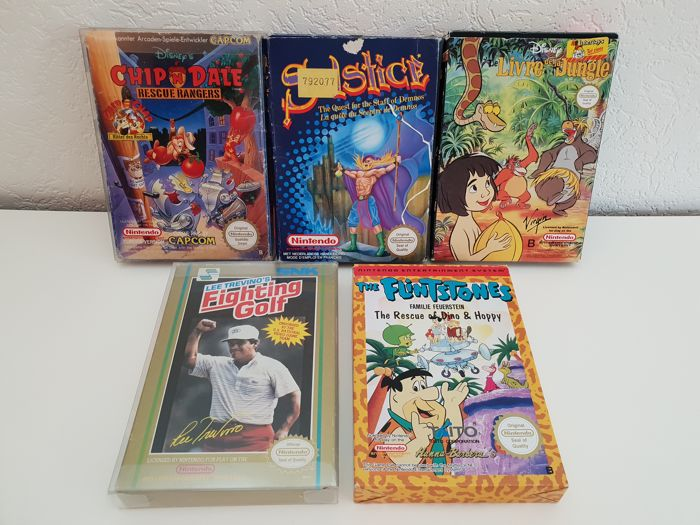 5 Boxed nes games, Solstice, jungle book, the Flintstones, Chip 'n Dales, Lee Trevino's Fighting Golf