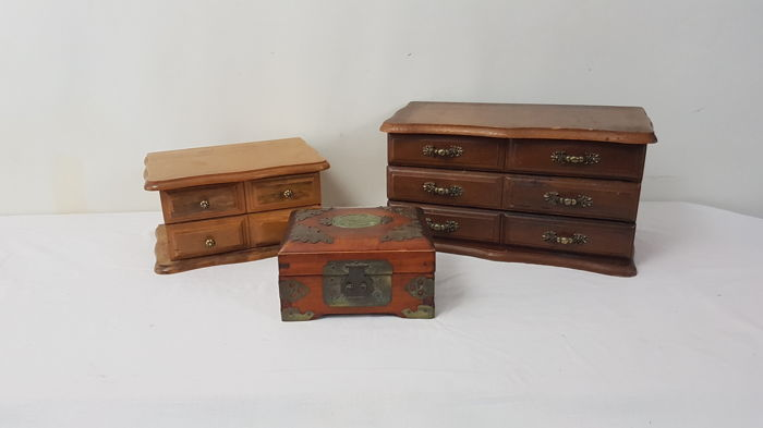 Three vintage wooden jewellery boxes, 20th century, Netherlands